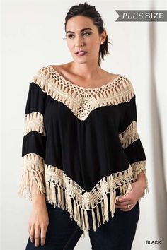 Crochet Knit Frayed Top - Black - Curvy