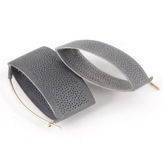 """Sandra Enterline - Patina Gallery Earrings, Perforated Purse, Oxidized Sterling Silver, 1.5"""" by .75""""    615$"""
