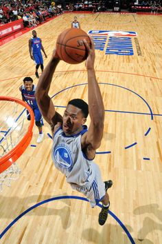 Damian Jones of the Golden State Warriors dunks the ball during the game against the Philadelphia 76ers during the 2017 Las Vegas Summer League on...