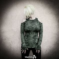 DUSTY - Military Green Long Sleeves Shirt with Holes on shoulders Dystopian Clothing Alternative Hand Paint Post Punk Grunge Decay Apparel