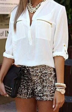Shorts, blouse, chunky jewelry
