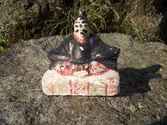 Japanese antique clay doll The Emperor face was rewrite cute size