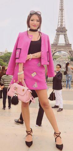 Fuchsia Long Sleeve Two Piece Wool Blend EmbroideryTwo Piece Mini Dress   Stylewe Pic by Yeshidon