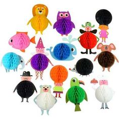 Honeycomb Parade, 3 different sets of 5 funny characters each by Ingela P Arrhenius. The characters have honeycomb bellies or hair. Party or room decoration Online Party Supplies, Kids Party Supplies, Kids Boutique, Party Shop, Honeycomb, Paper Goods, Gifts For Kids, Garland, Party Themes