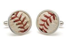 As Seen on The Today Show.  Each set of cufflinks captures a select section of an authentic Rawlings Official Major League Baseball used in a game.