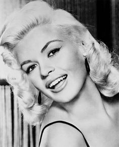Jayne Mansfield 1950s blonde bombshell sex kitten. platinum blonde retro style hair