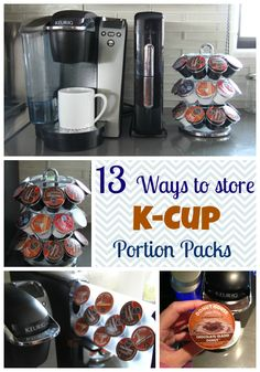 Here are 13 ways to store your Keurig K-Cup Portion Packs from upcycled cake pans to drawers under the coffee maker.