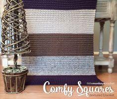 Comfy Squares Textured Blanket Crochet Pattern | Free Rustic Modern Lap Blanket Crochet Pattern by Little Monkeys Crochet | Baby Blanket Stroller Blanket Lap Blanket Throw Afghan