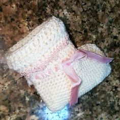 Vintage Traditional Hand Knitted Baby Girl Shoes - Made in Off White With Pink Bows  Measurements: (APPROXIMATE FIT IS FOR 0-6 MONTHS) LENGTH: 3.75  Christening/ Baptism Shoes Warm Winter Fall Baby Shoes Photography Prop Baby Shower Gift  Handmade Crochet Knit Vintage- Perfect Condition Never Used