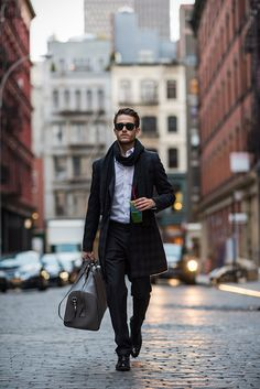 Adam Gallagher in Holiday Style - Topman trousers, Ted Baker coat, Uniqlo shirt, Rayban Wayfarers, Caravelle watch, Armani Exchange scarf, Hugo Boss shoes, Featuring: Gucci duffle bag