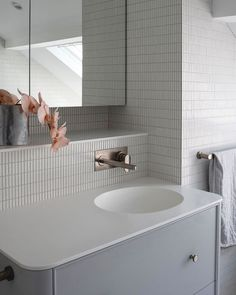 Our product featrued here in this beautiful Mina Staples Bathroom