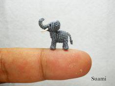Extreme Micro Crochet Elephant - Tiny Amigurumi Miniature stuffed Animals - Gray Elephant - Made To Order on Etsy, $110.00
