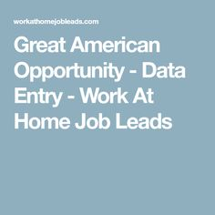 Great American Opportunity - Data Entry - Work At Home Job Leads