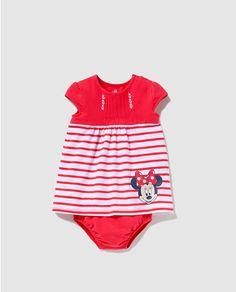 Vestido de bebé niña Disney a rayas con print de Minnie
