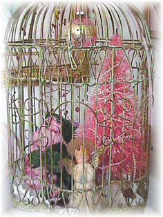 Birdcage with Vintage Christmas Decor
