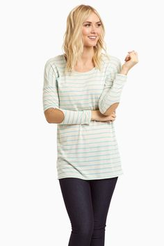 Light-Blue-Striped-Elbow-Patch-Top $32