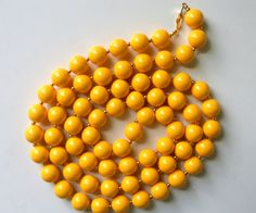 """Monet Beaded Vintage Necklaces 48"""" Signed Aqua Blue or Deep Canary Yellow"""