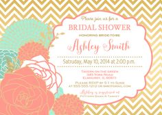 Bridal Shower Invitation and personalized sign, Coral, Mint, Gold Chevron, Modern