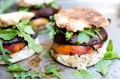 Roasted Portobello and Peach Sandwiches with Basil and Blue Cheese ...