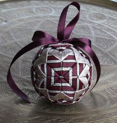 Christmas Quilted Ornament Silver Purple Gold by LuxuryPieces, $25.00