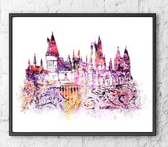 Hogwarts Castle Watercolor Harry Potter Art Movie by gingerkidsart