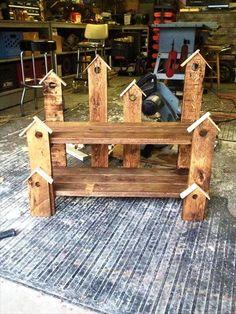 Pallet Birdhouse Bench | 101 Pallet Ideas