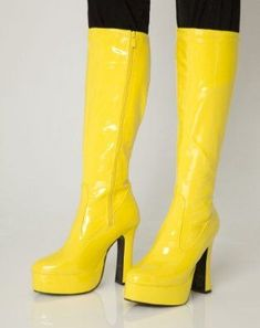 Platform Boots - Yellow Patent - Size 6: Amazon.co.uk: Shoes & Bags