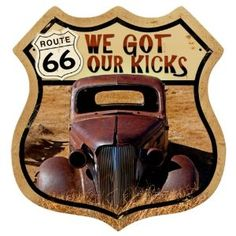 Route 66 Rusty Automotive Shield Metal Sign - Victory Vintage Signs