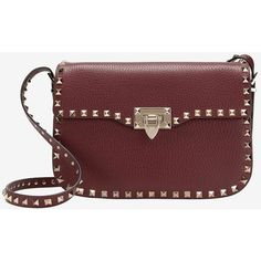 Valentino Rockstud Flip Clasp Crossbody: Burgundy ($2,645) ❤ liked on Polyvore featuring bags, handbags, shoulder bags, red crossbody, leather shoulder handbags, red leather handbag, crossbody shoulder bags and genuine leather handbags