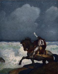 When Sir Percival came nigh unto the brim    Artist: N.C. Wyeth