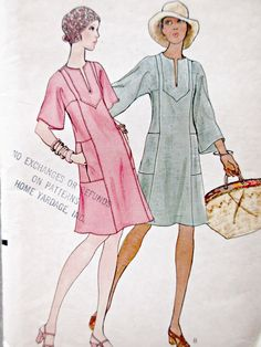 Vintage Vogue 8822 Sewing Pattern, 1970s Dress Pattern, Caftan Dress, Bust 34, 1970s Sewing Pattern, Pullover Dress, Sleeve Variations by sewbettyanddot on Etsy