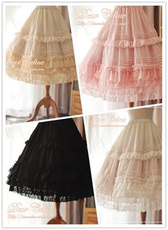 Long lolita underskirt with ruffle, embroidered net lace, and pintucks by Dear Celine. Comes in pink, black, white, and beige for ¥328 or around $52 USD