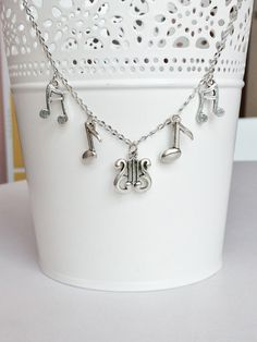 Music Harp Quaver Eighth Note Beam Note Stainless Steel Necklace N135