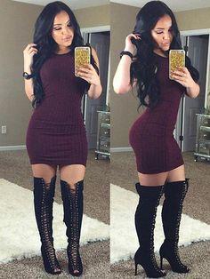 Fashion Sexy Skinny Basic Bodycon Dress Round Neck Short Sleeve Hip Package Slim Fit Cotton Dress