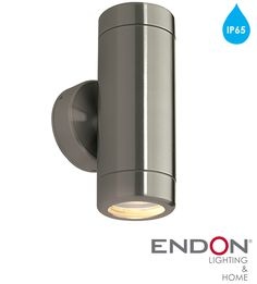 Endon 'Odyssey' IP65 2 Light Outdoor Wall Light, Brushed Stainless Steel