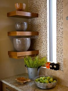 Like the corner shelves with easy access to mixing bowls - HGTV Green Home Kitchen Pictures on HGTV My hubs can totally build these! Kitchen Corner, Kitchen Shelves, Kitchen Backsplash, Diy Kitchen, Kitchen And Bath, Backsplash Ideas, Kitchen Ideas, Kitchen Sink, Kitchen Cabinets