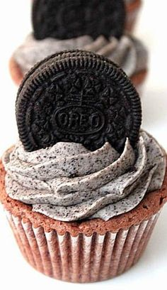 OREO Brownie Cupcakes with Oreo Buttercream Recipe