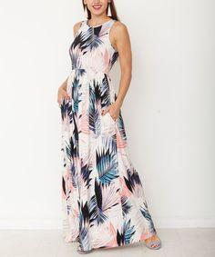 egs by éloges Blush & Blue Leaf Side-Pocket Maxi Dress - Women Blue Leaves, African Dress, Dress Backs, Bridal Gowns, Womens Fashion, Ladies Fashion, My Style, How To Wear, Blush