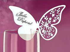 Papillon marque place verre