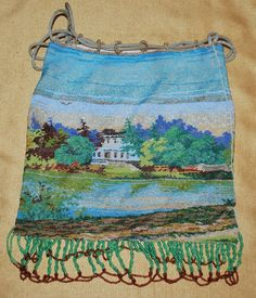 Micro Beaded Lake Scenic Purse C. 1920's