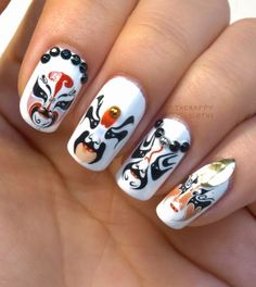 The Happy Sloths: Beijing Opera Mask Nails: Manicure featuring Water Decal & Nail Art Studs