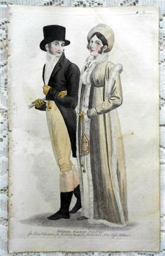 A lady and gentleman. Jane Austen, Regency Dress, Regency Era, 1800s Fashion, Vintage Fashion, Period Outfit, Empire Style, Western Dresses, Pride And Prejudice