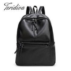 2016 New Vintage Washable Leather Backpack Women Sequined Backpack For School Girls Ladies Bag Mochila Feminina Travel