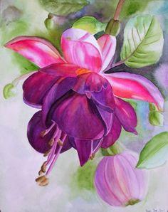Pink Fushia - watercolor. By Doris Joa