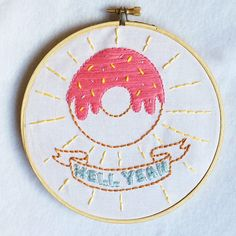 HELL YEAH DONUTS  funny food embroidery donuts by FawnandPeach