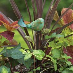 Take a look at the Ancient Graffiti event on today! Lily Garden, Garden Art, Flowers Garden, Herb Garden, Decorative Garden Stakes, Teal Bird, Unique Plants, Ceramic Birds, Garden Ornaments