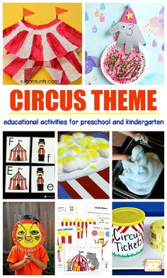 Learning is fun with these hands-on circus activities for preschool and kindergarten! This preschool circus theme is a fun early learning thematic unit. (Camping Hacks With Toddlers) Carnival Theme Activities, Carnival Crafts, Circus Theme Crafts, Camp Carnival, Vintage Carnival, Vintage Circus, Preschool Summer Camp, Summer Camp Themes, Summer Fun