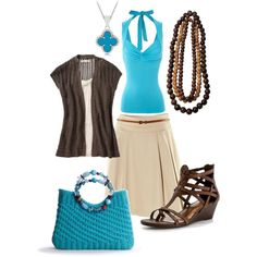 Turquoise + Brown = Summer by blovdprincess on Polyvore featuring polyvore, fashion, style, Old Navy, Jane Norman, H&M, Kelly & Katie, Poppie Jones, Fantasy Jewelry Box and turquoise jewelry