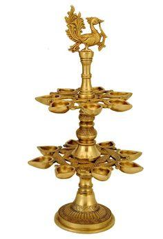 Ornamental Brass Lamp Deepam with Bird