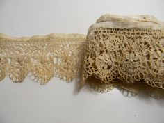 Vintage Maltese Lace handmade bobbin lace in linen by FeliceSereno, $35.00